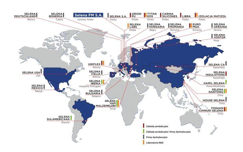 Selena, mapa działalności na świecie