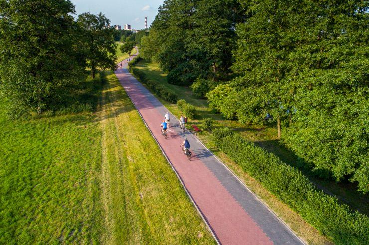 Tereny zielone nad Bystrzycą, ścieżki rowerowe
