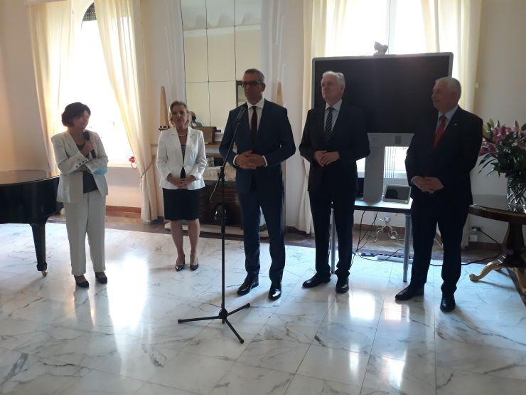 potkanie polskiej delegacji rządowej z krajowymi inwestorami i przedsiębiorcami działającymi na włoskim rynku w Ambasadzie RP w Rzymie,. Na zdjęciu Krzysztof Drynda i Jarosław Gowin